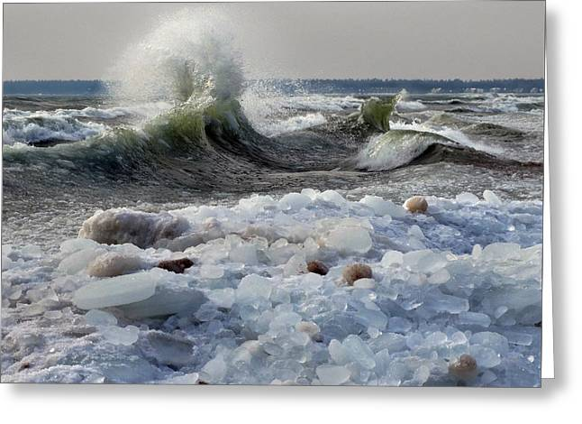 Winter Waves At Whitefish Dunes Greeting Card