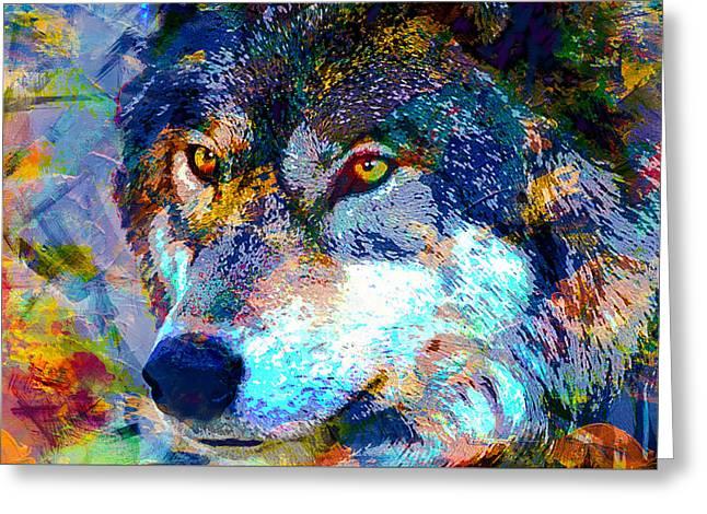 Wolf Greeting Card by Elena Kosvincheva