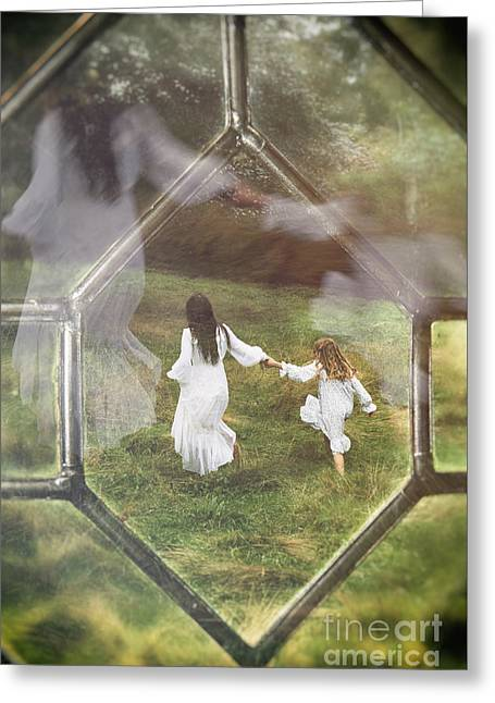 Woman And Child Through Window Greeting Card by Amanda Elwell