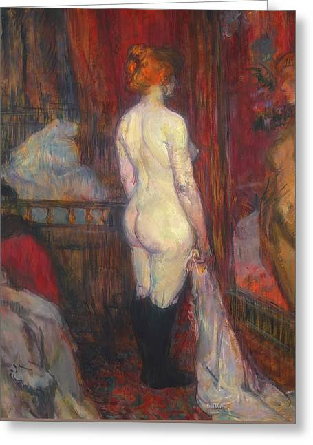 Woman Before A Mirror Greeting Card by Henri de Toulouse-Lautrec
