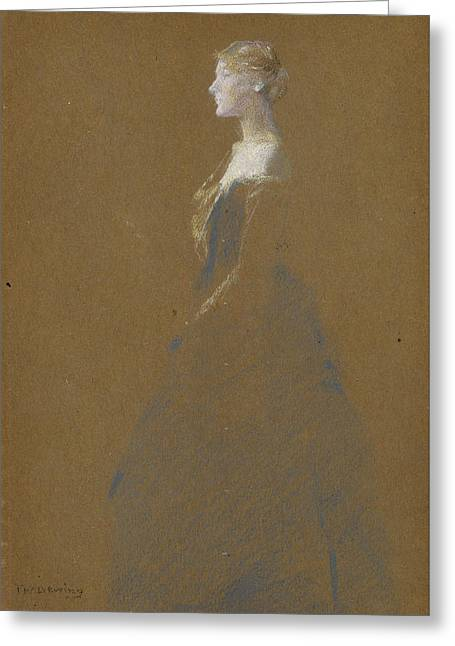Woman In A Blue Dress Greeting Card by Thomas Wilmer Dewing