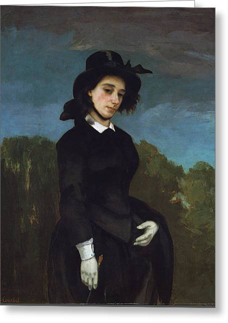 Woman In A Riding Habit Greeting Card by Gustave Courbet