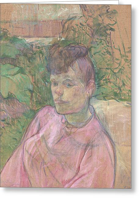 Woman In The Garden Of Monsieur Forest Greeting Card by Henri de Toulouse-Lautrec