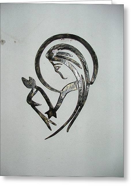 Woman In Wrought Iron Greeting Card by Petrit Metohu