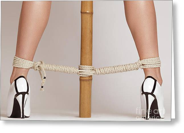Woman Legs Tied With Ropes To Bamboo Greeting Card by Oleksiy Maksymenko