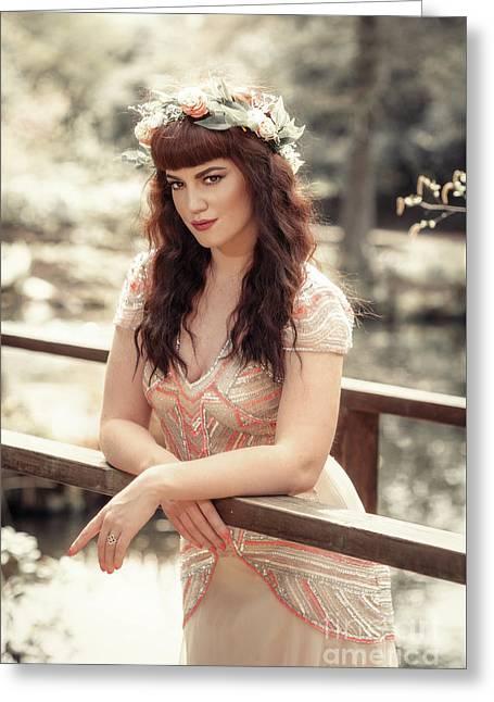 Woman On Wooden Bridge Greeting Card