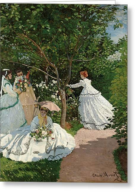 Women In The Garden Greeting Card by Claude Monet