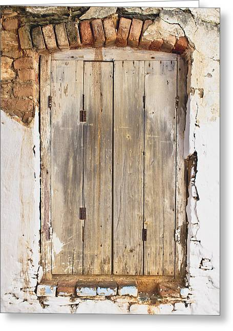 Wooden Shutter Greeting Card by Tom Gowanlock
