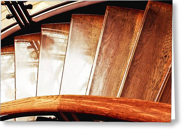 Wooden Stairs Greeting Card by Tom Gowanlock