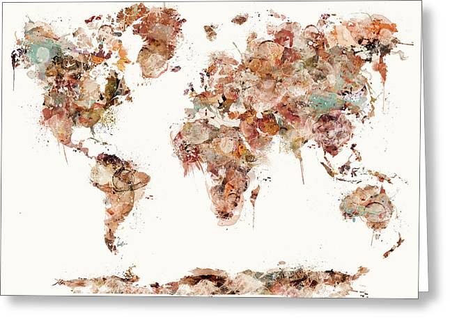 Greeting Card featuring the painting World Map Watercolor by Bri B