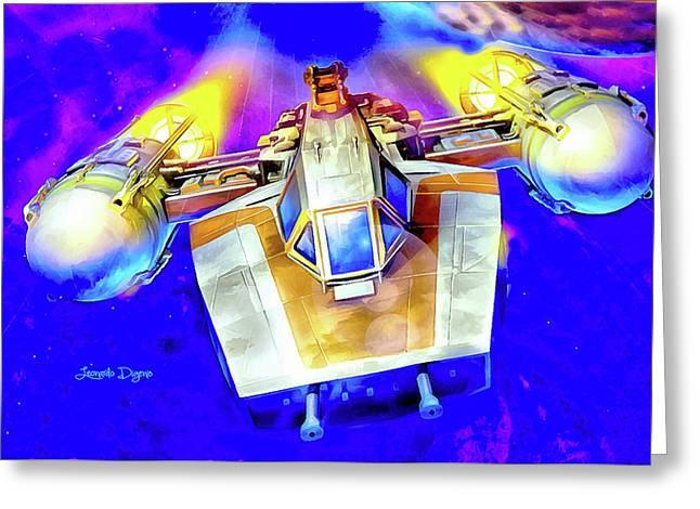 Y-wing Fighter - Watercolor Style Greeting Card by Leonardo Digenio