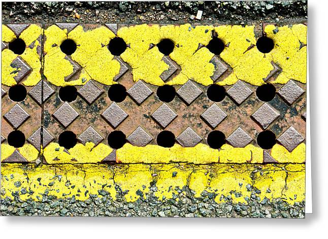 Yellow Lines Greeting Card by Tom Gowanlock