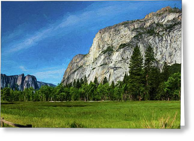 Yosemite Valley Meadow Panorama Greeting Card