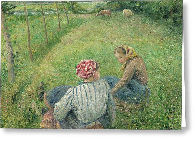 Young Peasant Girls Resting In The Fields Near Pontoise Greeting Card