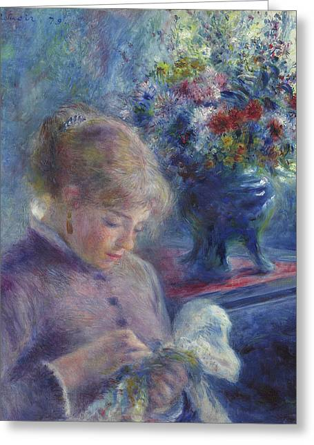 Young Woman Sewing Greeting Card by Pierre Auguste Renoir