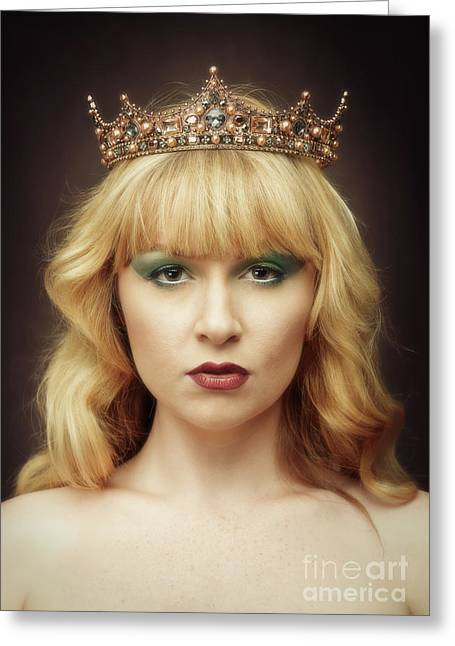 Young Woman Wearing Crown Greeting Card