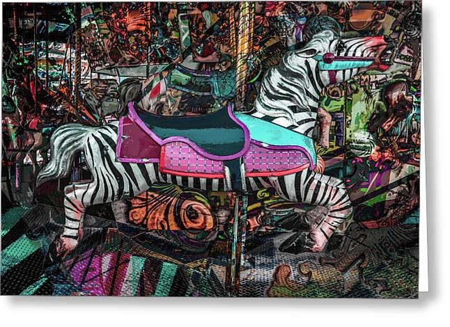 Greeting Card featuring the photograph Zebra Carousel by Michael Arend