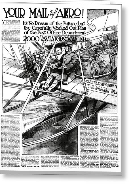 2000 Aviators Needed For U. S. Mail Delivery 1914 Greeting Card by Daniel Hagerman