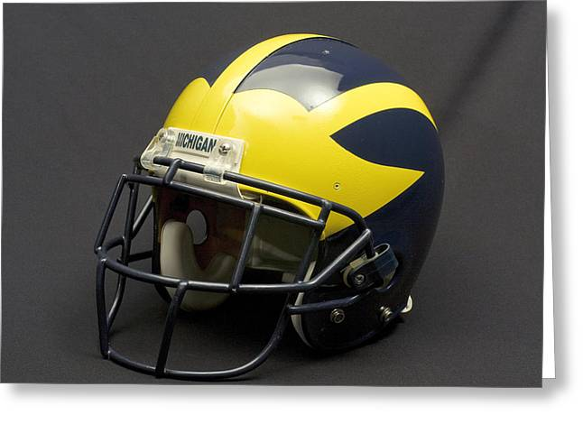 Greeting Card featuring the photograph 2000s Era Wolverine Helmet by Michigan Helmet
