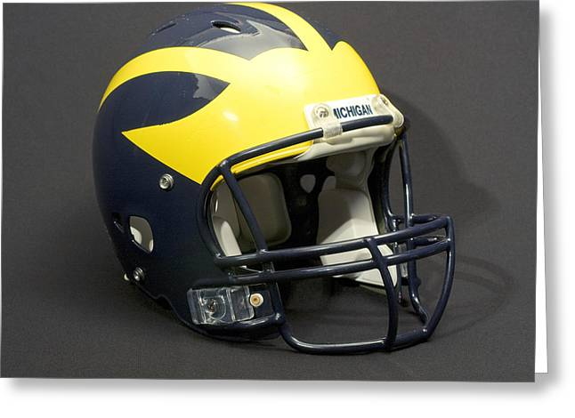 Greeting Card featuring the photograph 2000s Wolverine Helmet by Michigan Helmet