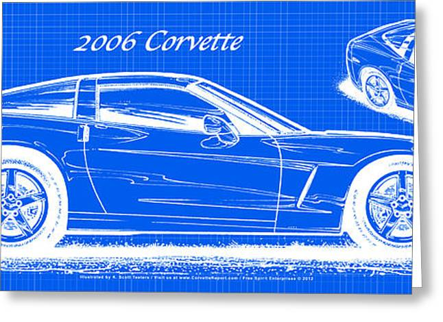 2006 Corvette Blueprint Series Greeting Card