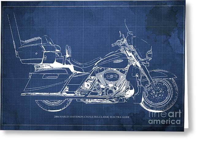 2006 Harley Davidson Cvo Ultra Classic Electra Glide Blueprint Blue Background Greeting Card by Pablo Franchi