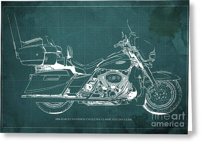 2006 Harley Davidson Cvo Ultra Classic Electra Glide Blueprint Green Background Greeting Card by Pablo Franchi