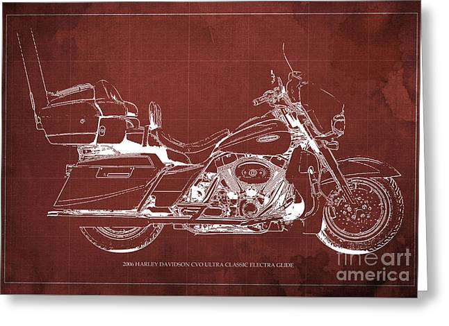 2006 Harley Davidson Cvo Ultra Classic Electra Glide Blueprint Red Background Greeting Card by Pablo Franchi