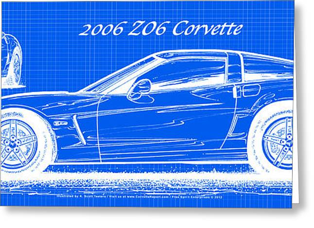 2006 Z06 Corvette Blueprint Series Greeting Card