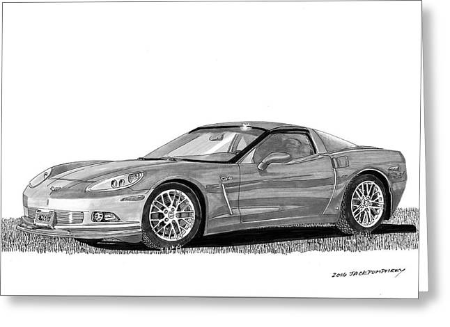 Greeting Card featuring the painting  Corvette Roadster, Silver Ghost by Jack Pumphrey