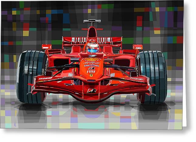 2008 Ferrari F1 Racing Car Kimi Raikkonen Greeting Card