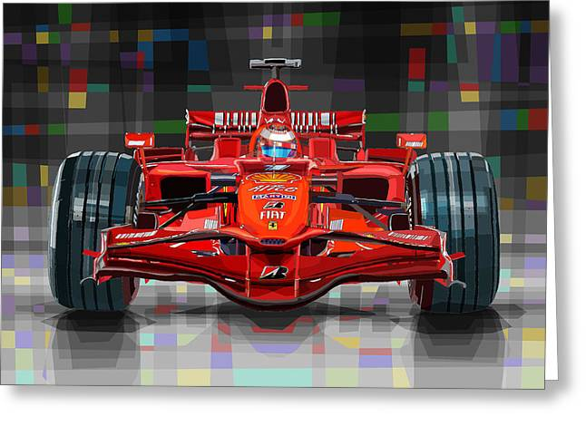 2008 Ferrari F1 Racing Car Kimi Raikkonen Greeting Card by Yuriy Shevchuk