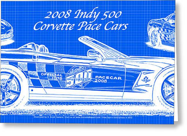 Indy Car Greeting Cards - 2008 Indy 500 Corvette Pace Cars Blueprint Series - Reversed Greeting Card by K Scott Teeters