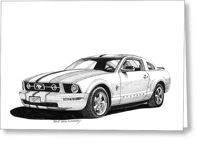 White Mustang Fastback Greeting Card