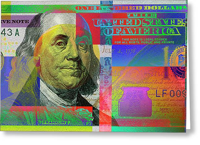 2009 Series Pop Art Colorized U. S. One Hundred Dollar Bill No. 1 Greeting Card