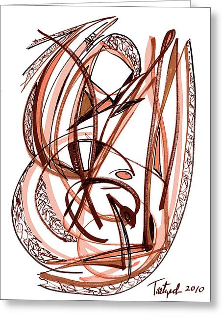 2010 Abstract Drawing Five Greeting Card
