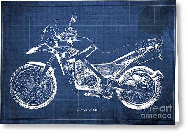 2010 Bmw G650gs Vintage Blueprint Blue Background Greeting Card