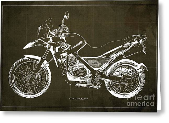 2010 Bmw G650gs Vintage Blueprint Brown Background Greeting Card by Pablo Franchi
