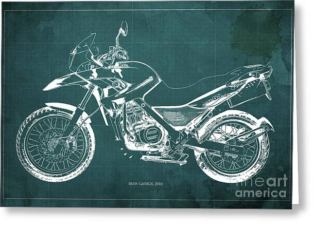 2010 Bmw G650gs Vintage Blueprint Green Background Greeting Card by Pablo Franchi