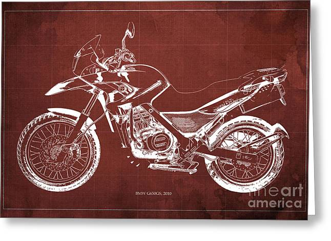 2010 Bmw G650gs Vintage Blueprint Red Background Greeting Card by Pablo Franchi