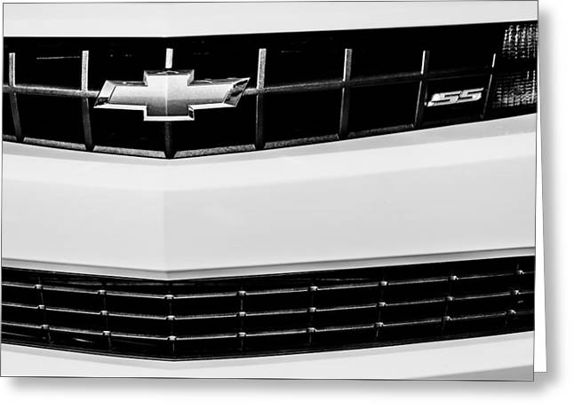2010 Chevrolet Nickey Camaro Ss Grille Emblem -0078bw Greeting Card