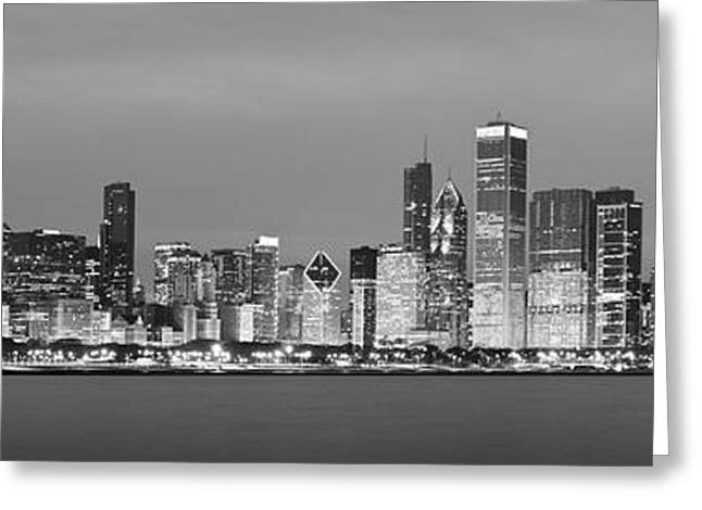 2010 Chicago Skyline Black And White Greeting Card by Donald Schwartz