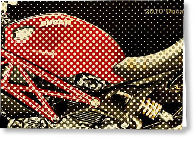 2010 Ducati Monster 1100 Vintage Newspaper Dots Greeting Card by Pablo Franchi