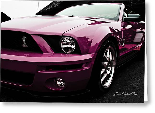 Greeting Card featuring the photograph 2010 Pink Ford Cobra Mustang Gt 500 by Joann Copeland-Paul