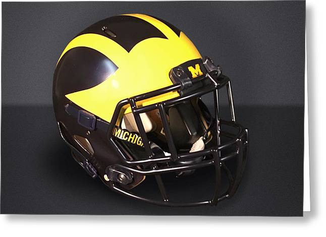 Greeting Card featuring the photograph 2010s Wolverine Helmet by Michigan Helmet