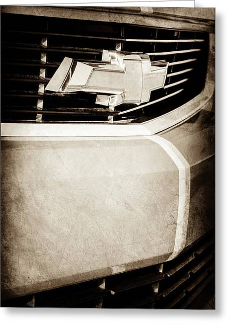Greeting Card featuring the photograph 2011 Chevrolet Camaro Grille Emblem -0321s by Jill Reger