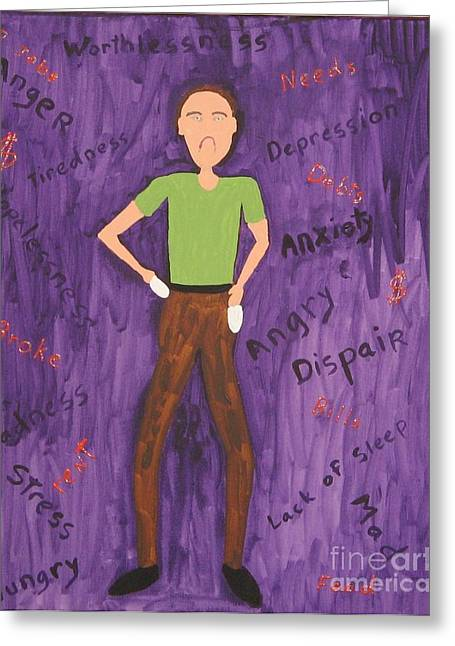 2011 Worried Man Greeting Card by Gregory Davis