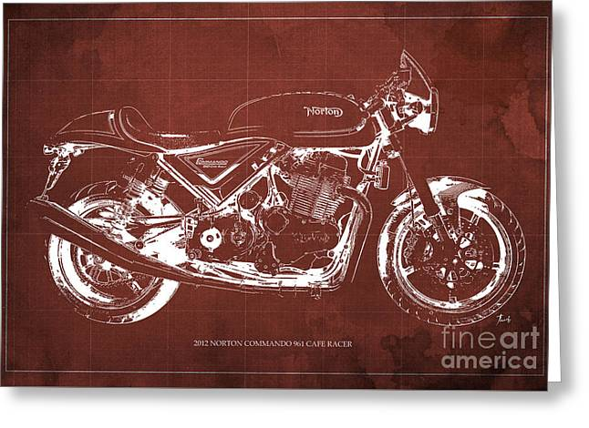 2012 Norton Commando 961 Cafe Racer Motorcycle Blueprint - Red Background Greeting Card
