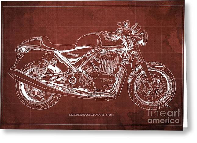 2012 Norton Commando 961 Sport Blueprint Classic Motorcycle Red Background Greeting Card