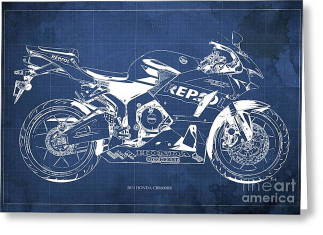 2013 Honda Cbr600rr Blueprint, Blue Vintage Background, Gift For Him Greeting Card